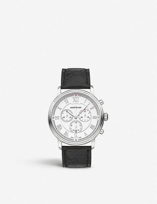 114339 Tradition stainless-steel and leather quartz watch