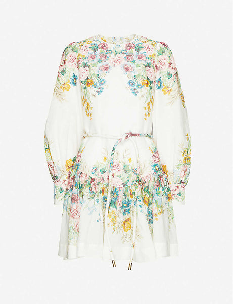 Floral-pattern puffed-sleeve linen mini dress