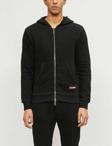 Logo-badge zipped cotton stretch-jersey hoody
