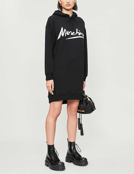 Logo-print hooded stretch-cotton mini dress