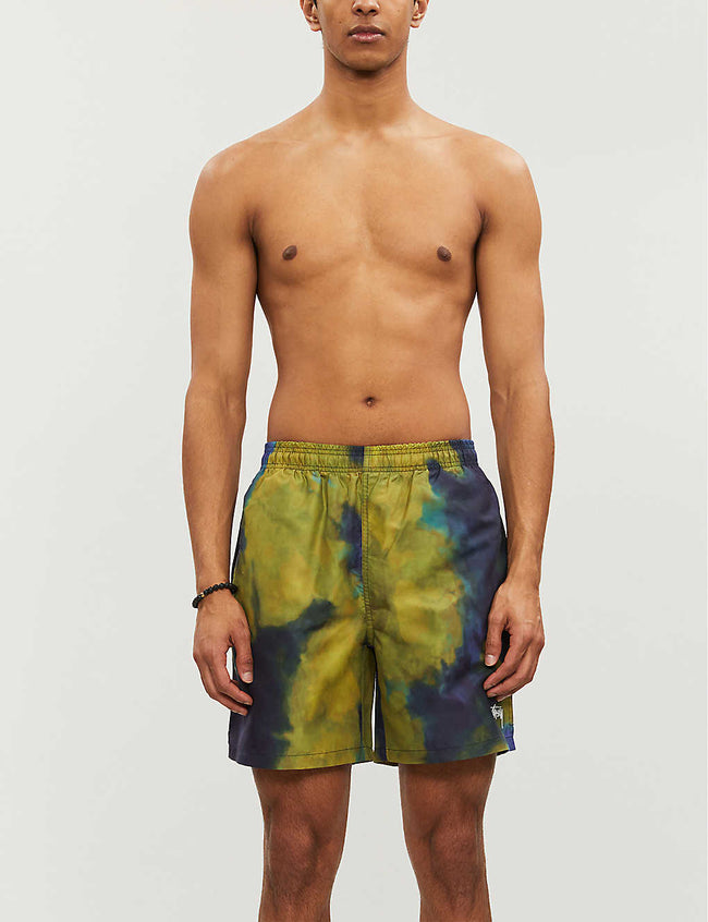 Abstract-print swim shorts