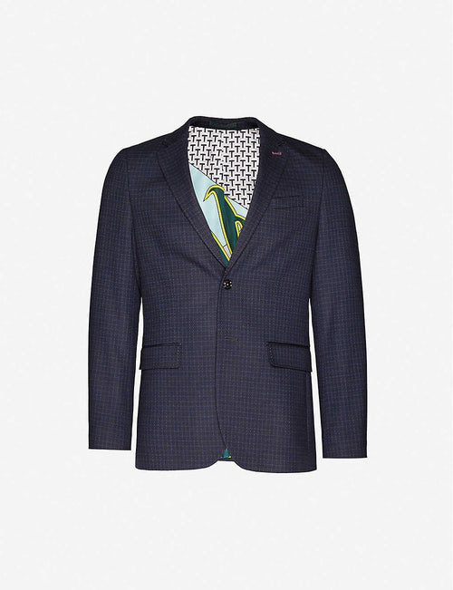 Micro-check regular-fit stretch-woven blazer