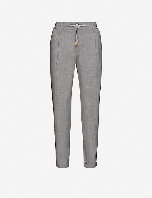 Mid-rise tapered wool jogging bottoms