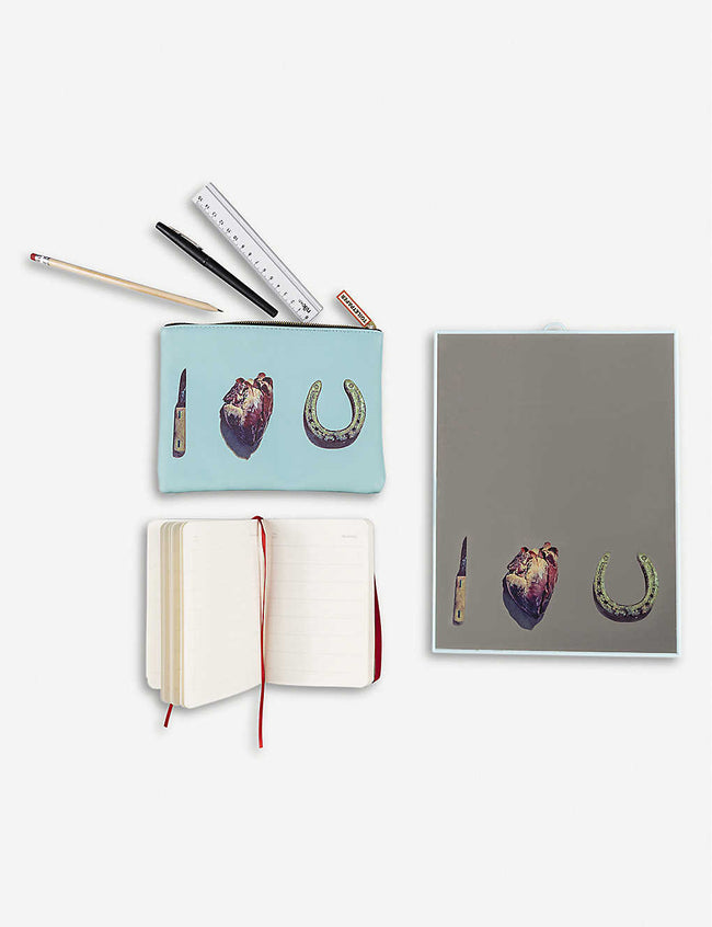 I Love You notebook, mirror and cosmetic case set