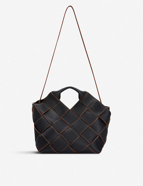 Woven basket leather tote bag