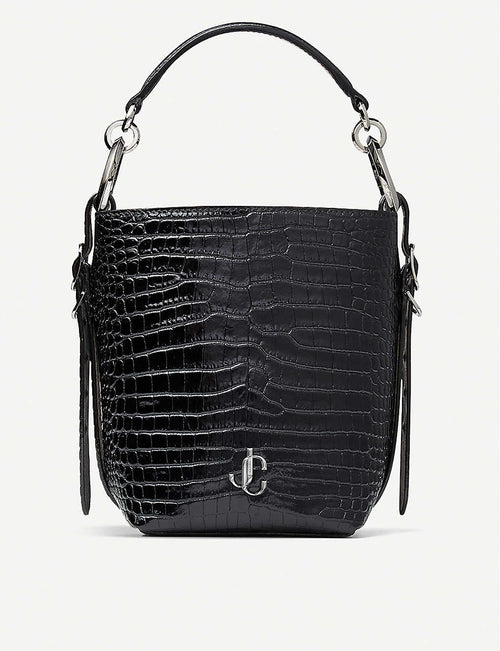 Varenne croc-embossed leather bucket handbag