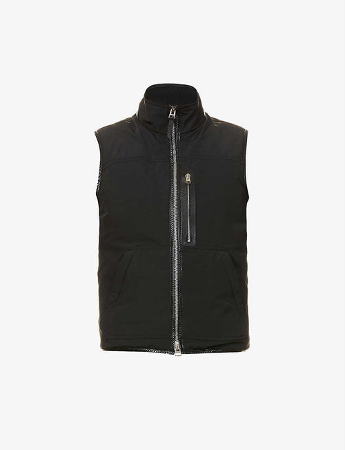 Leather-trim shell gilet