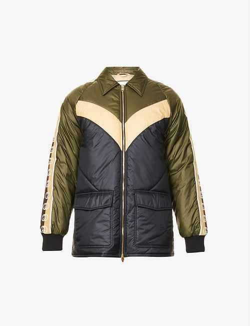 Logo-tape padded shell jacket