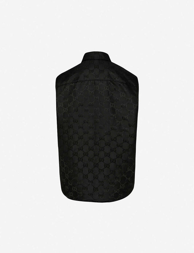 Monogram-print padded shell gilet