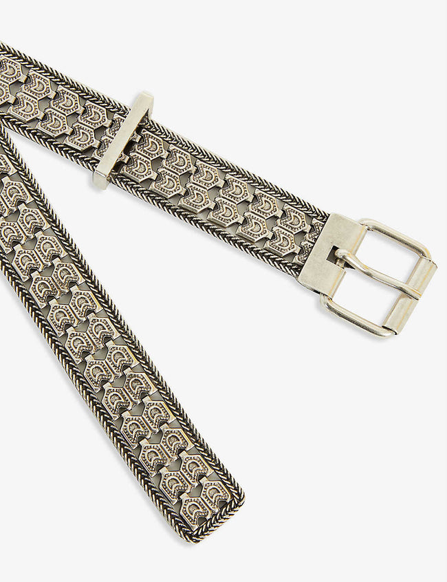 Chain-embellished metal belt