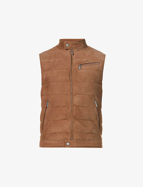 Padded zipped suede gilet