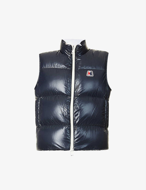 Monginevro padded brand-patch shell-down gilet