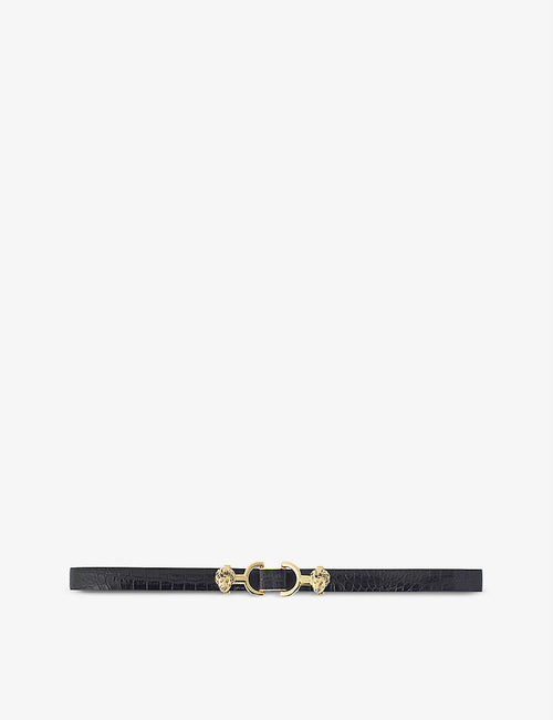 Amor horsebit-embellished croc-embossed leather belt