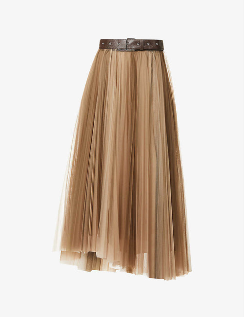 Belted pleated tulle midi skirt