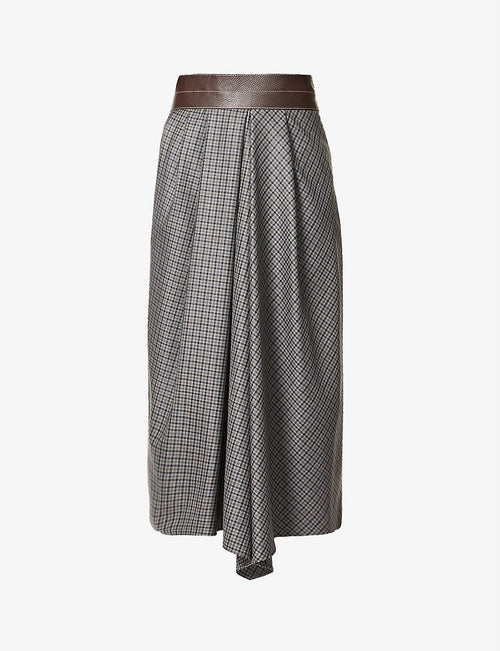 Checked high-rise wool and leather midi skirt