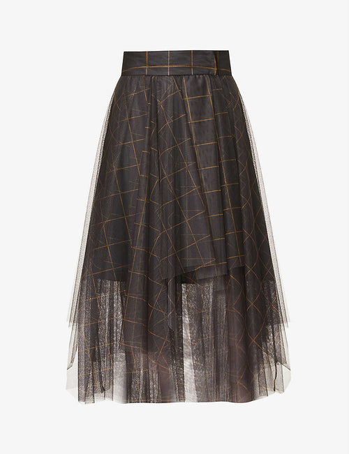 Checked semi-sheer high-waist tulle midi skirt