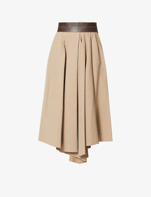 Pinstripe high-waist wool-blend midi skirt