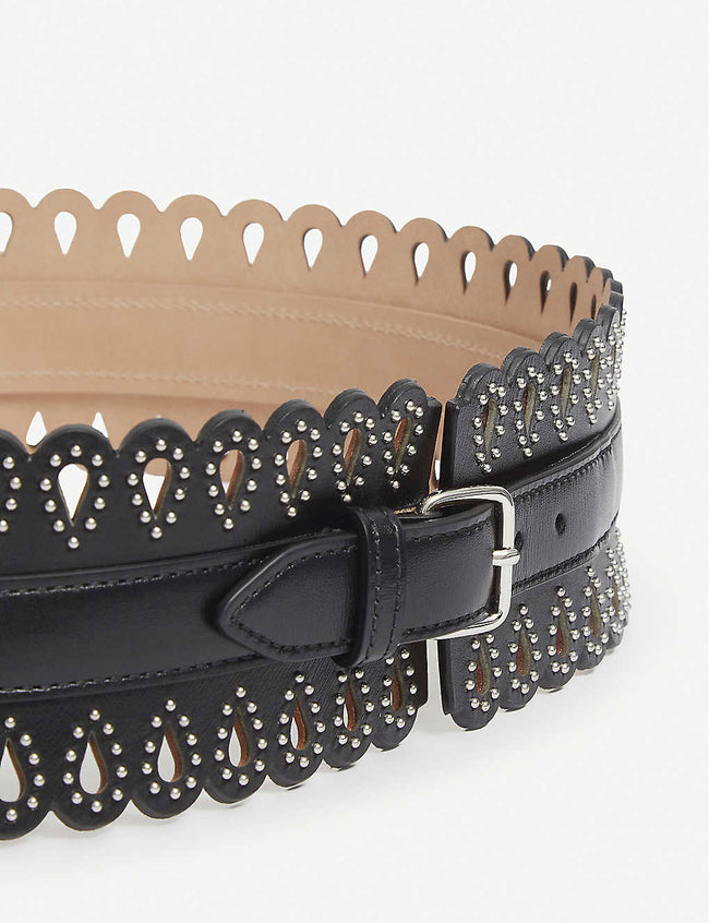 Studded laser-cut leather corset belt