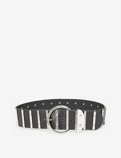 Silver-tone and leather belt