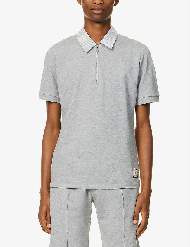 Patterned zip-up stretch-jersey polo shirt