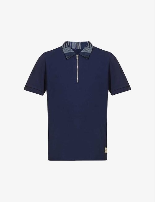 Contrast-collar stretch-jersey polo shirt