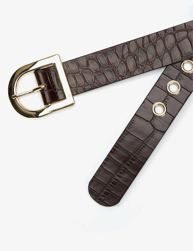 Bina crocodile-embossed leather belt