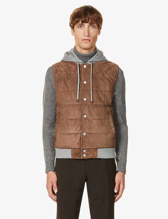 Hooded quilted suede gilet