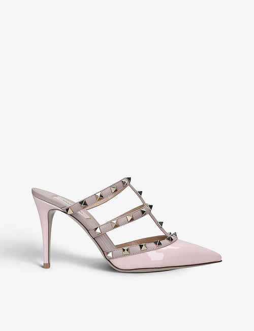 Rockstud leather heeled mules