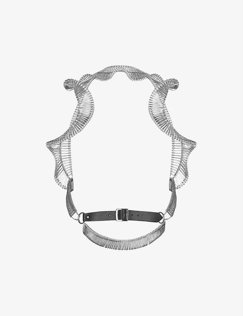 Safety pin leather and metal harness