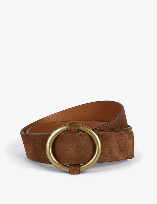 Tisao Su gold-tone buckle split leather belt