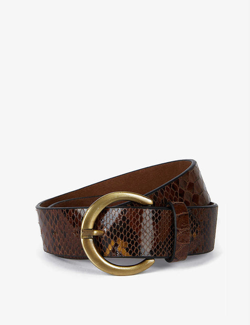 Judy Pyth snakeskin-embossed split leather belt