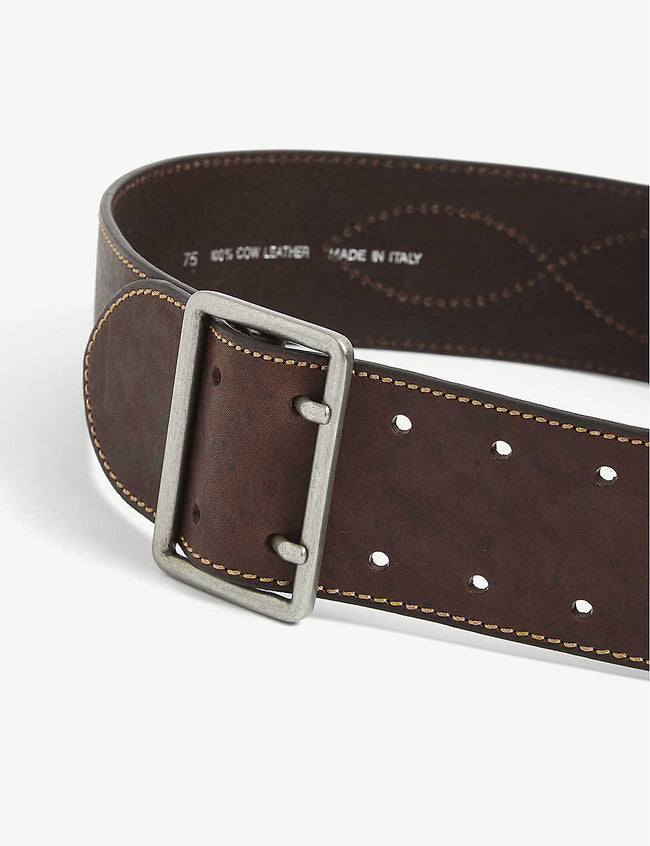 Brave contrast-stitch leather belt