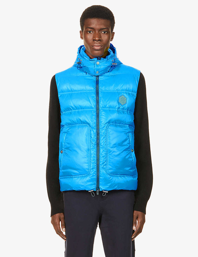 Padded hooded shell-down gilet
