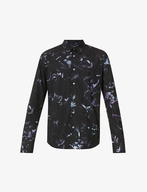 Ghost Flower graphic-print slim-fit cotton and silk-blend shirt