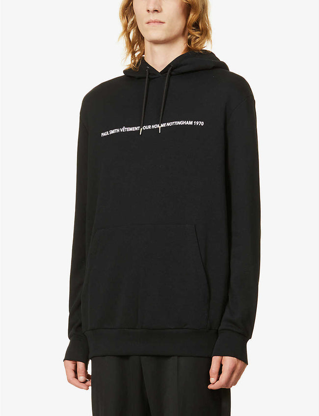 Graphic-print cotton-blend hoody