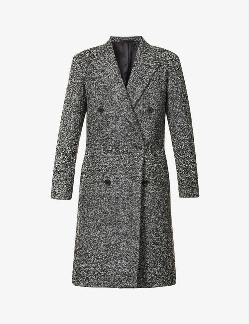 Double-breasted notch-lapel woven coat