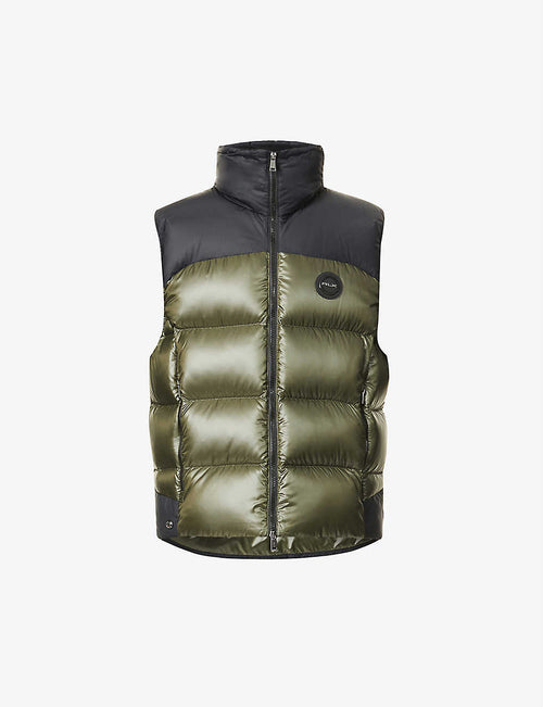 Funnel-neck quilted shell-down gilet