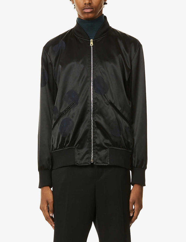 Apple graphic-pattern shell bomber jacket