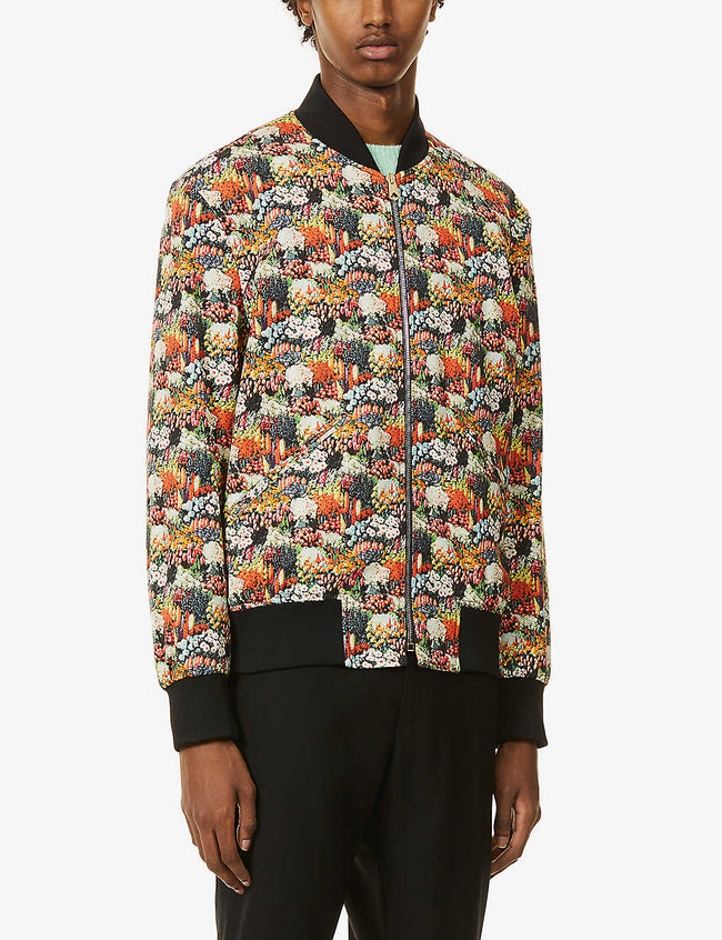 Floral-print stand-collar cotton-blend bomber jacket