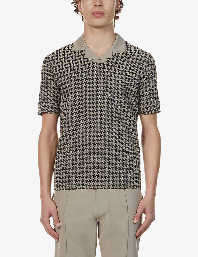Regent houndstooth-print stretch-woven polo shirt