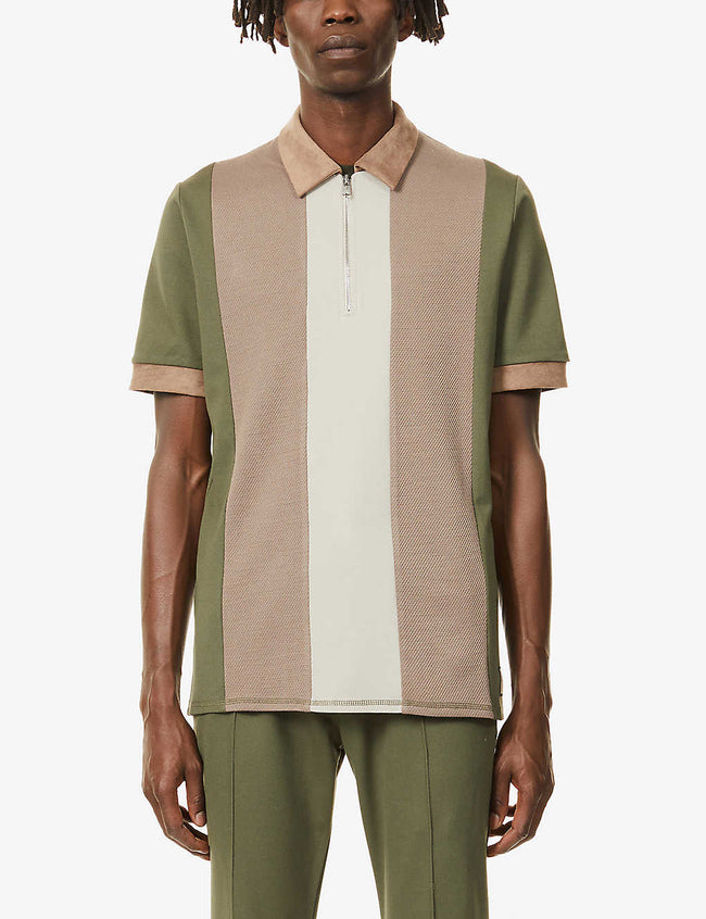 Kennedy block-panel slim-fit stretch-knit polo shirt