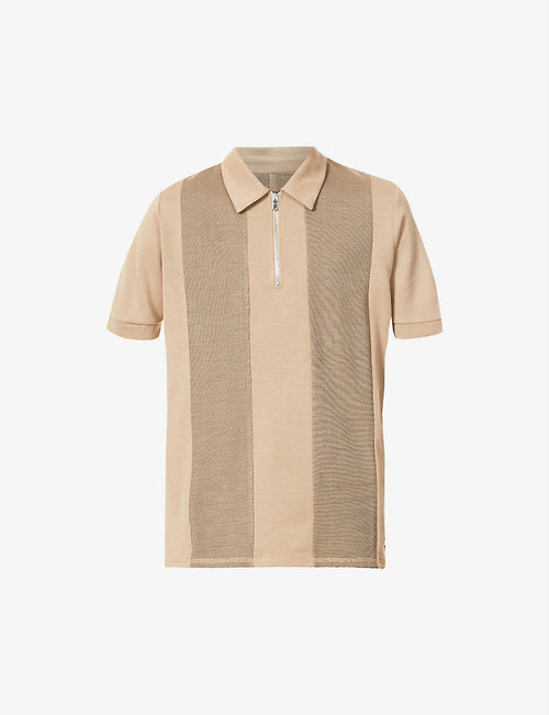 Saxen striped knitted polo shirt