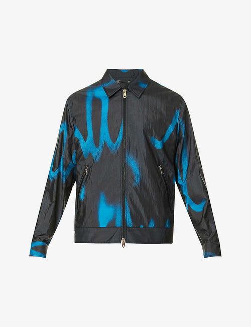 Abstract-pattern collared shell jacket