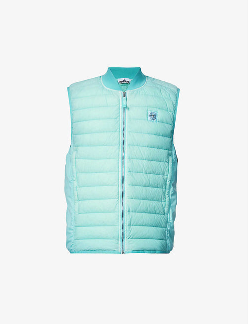 Padded brand-patch shell-down gilet