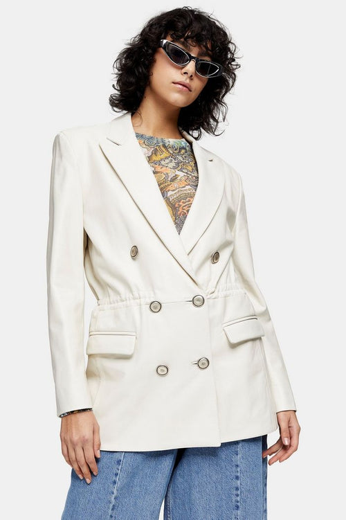IDOL White Leather Double Breasted Drawstring Waist Blazer