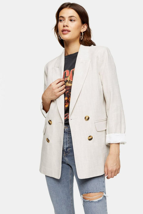 Ecru Double Breasted Blazer