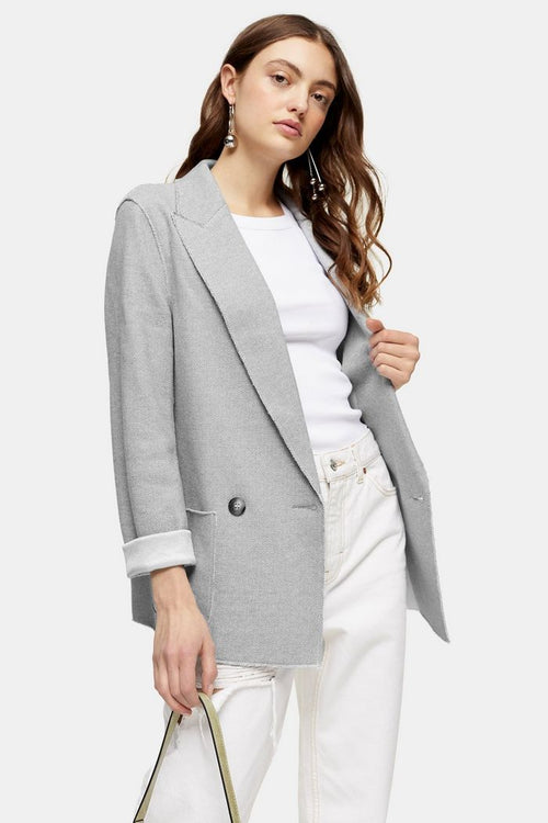Raw Edge Jersey Double Breasted Blazer