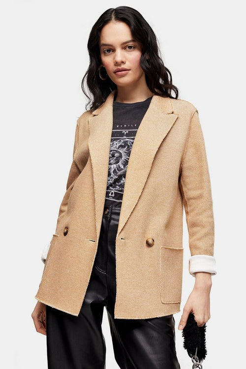 Tan Raw Edge Jersey Double Breasted Blazer