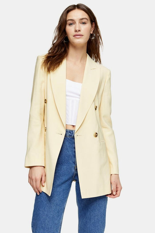 Yellow Double Breasted Belted Blazer