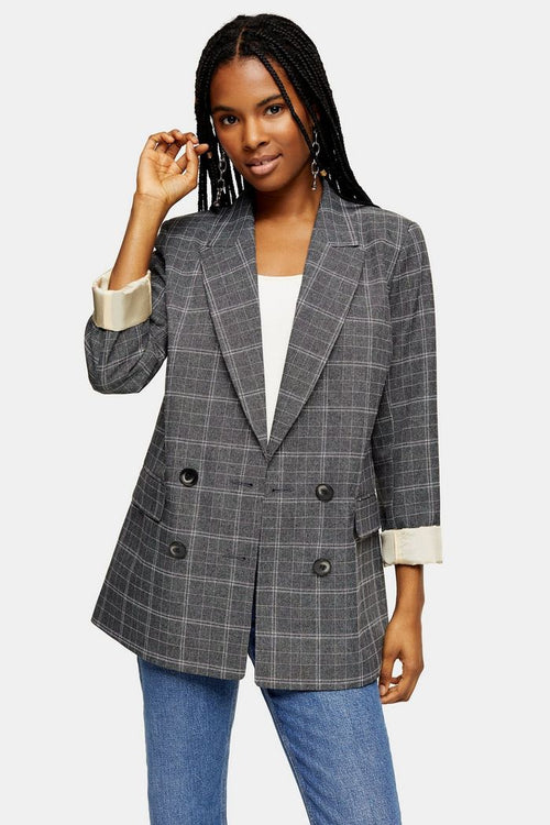 Grey Windowpane Check Double Breasted Blazer